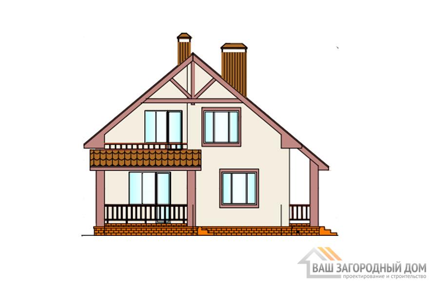 Проект дома в 2 этажа с террасой, общей площадью 174 м2, К-0258