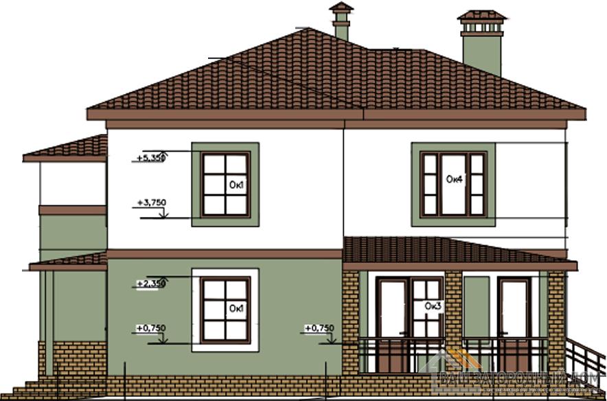 Проект дома в 2 этажа с террасой, общей площадью 229 м2, К-0259