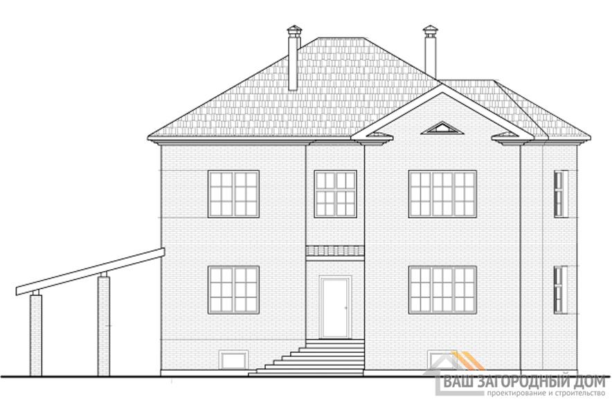 Проект дома в 2 этажа с цоколем и террасой, общей площадью 338 м2, К-0262