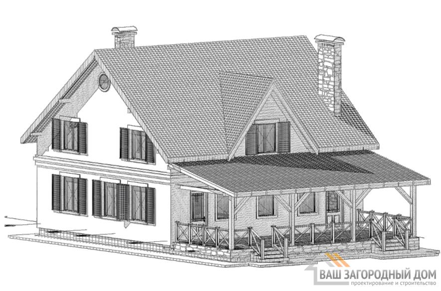 Проект дома в 2 этажа с мансардой, общей площадью 185 м2, К-0264