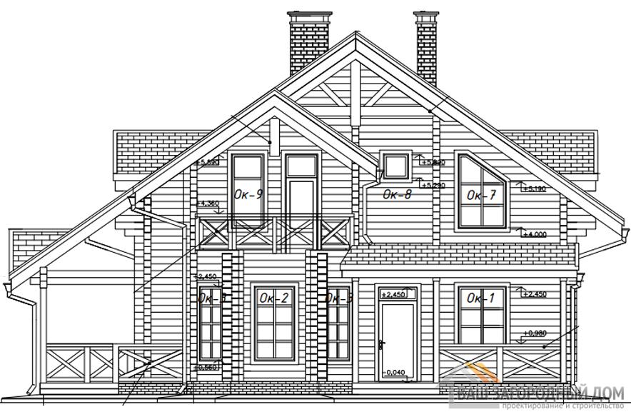 Проект деревянного дома в 2 этажа с террасой, общей площадью 195 м2, Д-0265