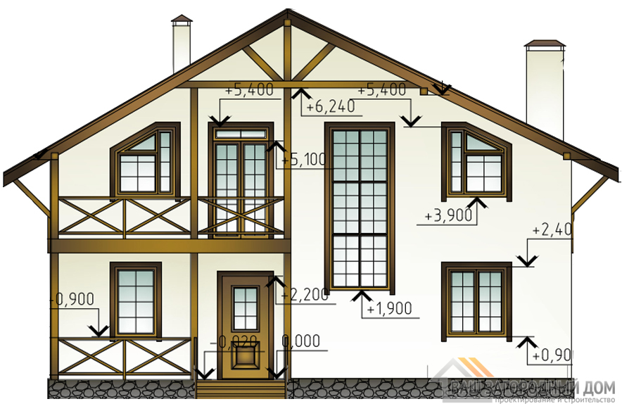 Проект дома в 2 этажа с террасой, общей площадью 189 м2, КР-0266