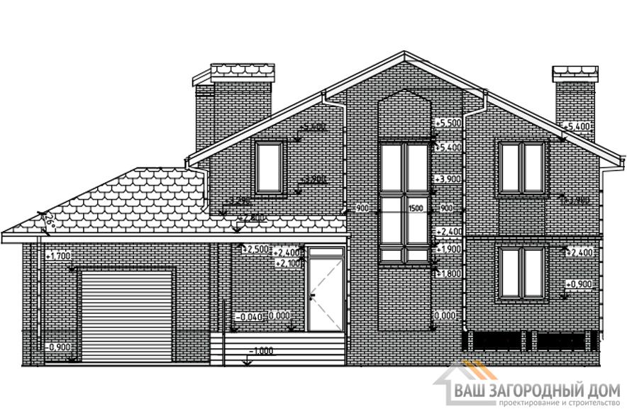 Проект дома в 2 этажа с гаражом, общей площадью 251 м2, К-0268