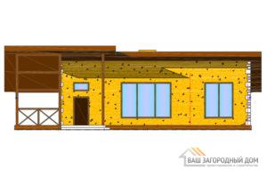 Проект деревянного дома в 1 этаж, общей площадью 123 м2, Д-0269