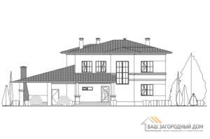 Проект дома в 2 этажа с террасой, общей площадью 285 м2, К-0271