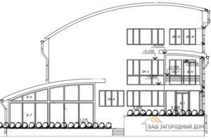 Проект офисного помещения в 2 этажа с цоколем, общей площадью 697 м2, КР-0275
