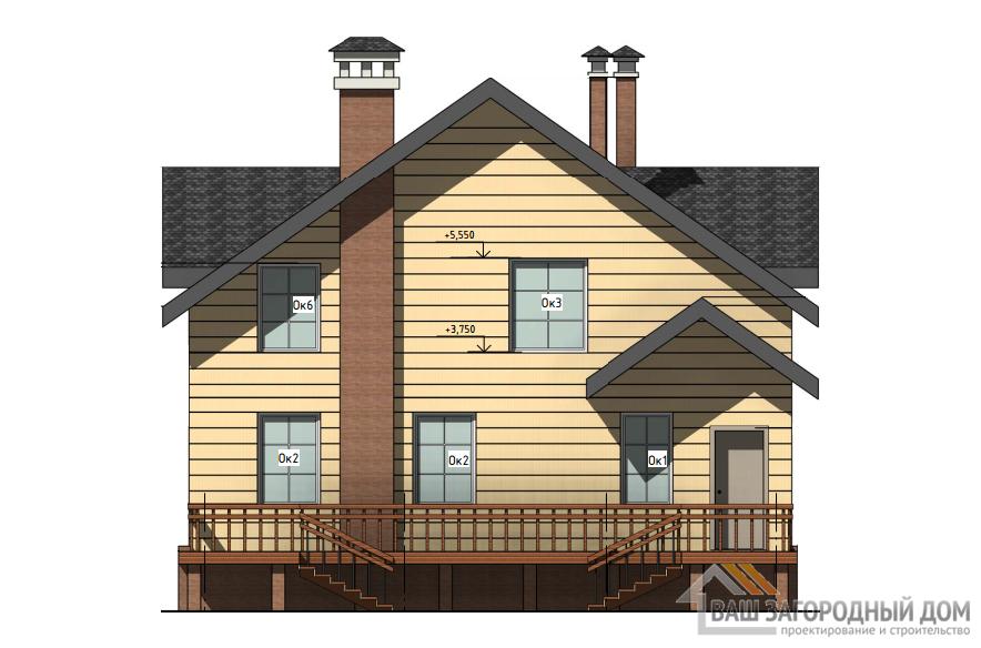 Проект дома в 2 этажа с террасой, общей площадью 194 м2, Д-0282