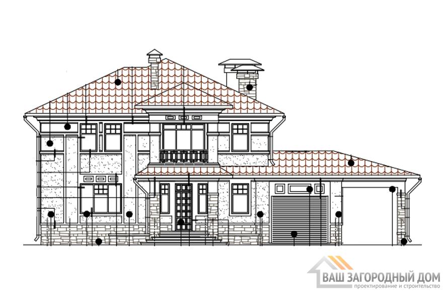 Проект дома в 2 этажа с цоколем, общей площадью 339 м2, К-0283