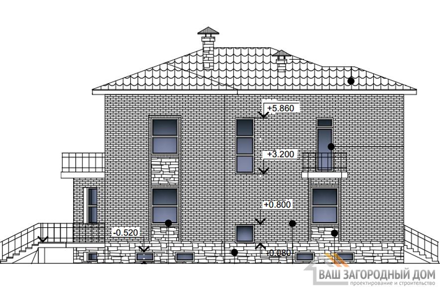 Проект дома в 2 этажа с террасой, общей площадью 402 м2, К-0289