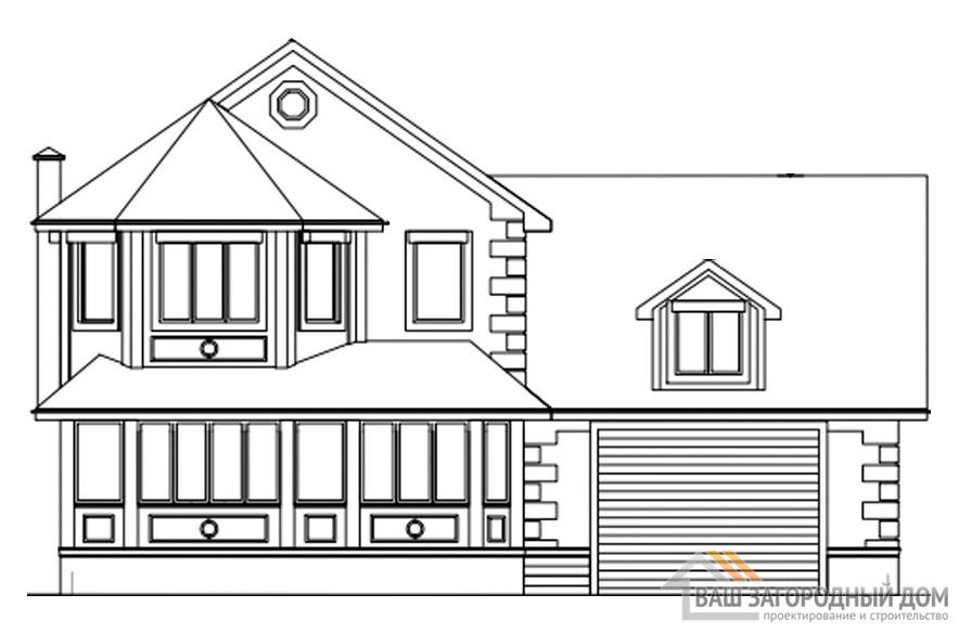 Проект дома в 2 этажа с террасой, общей площадью 301 м2, КР-0296