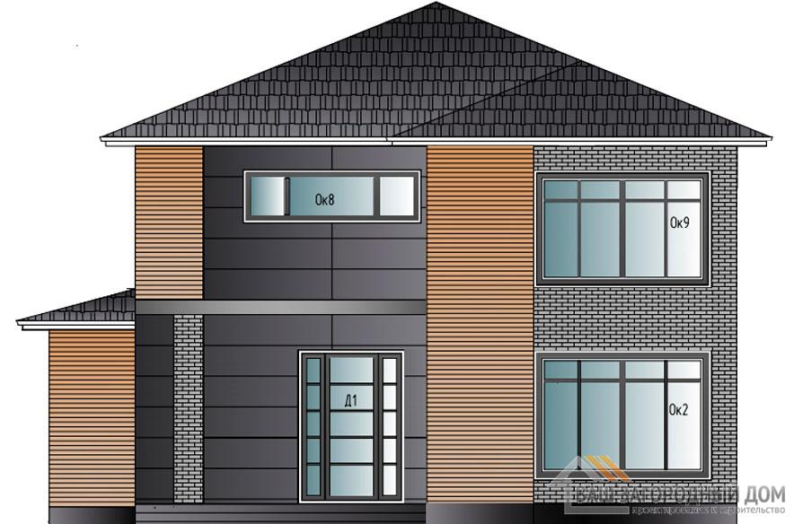 Проект дома в 2 этажа с террасой, общей площадью 215 м2, КР-0297