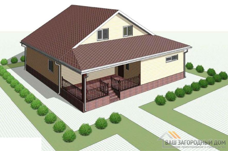 Проект дома в 2 этажа с террасой, общей площадью 226 м2, КР-0298