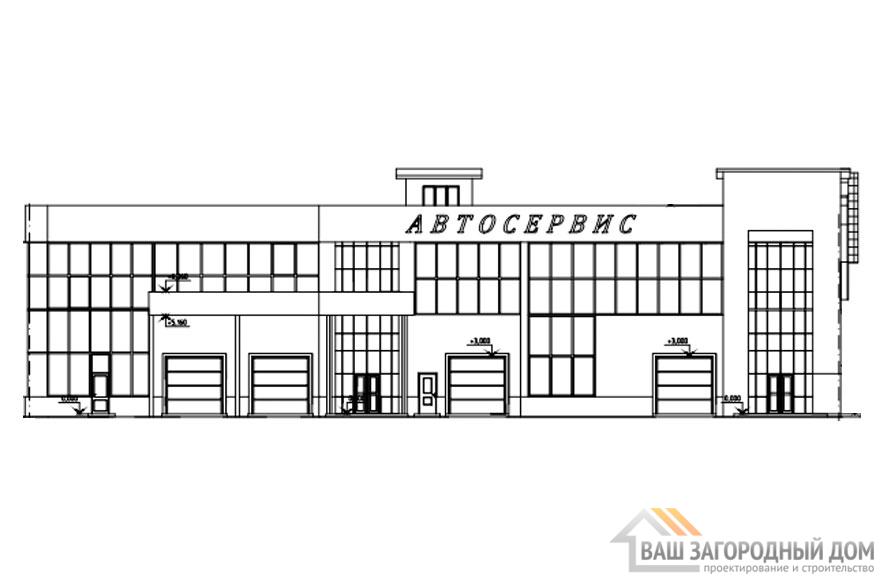 Проект автосервиса в 2 этажа, общей площадью 1965 м2, КР-0303