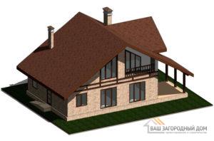 Проект дома в 2 этажа с террасой, общей площадью 184 м2, К-0309