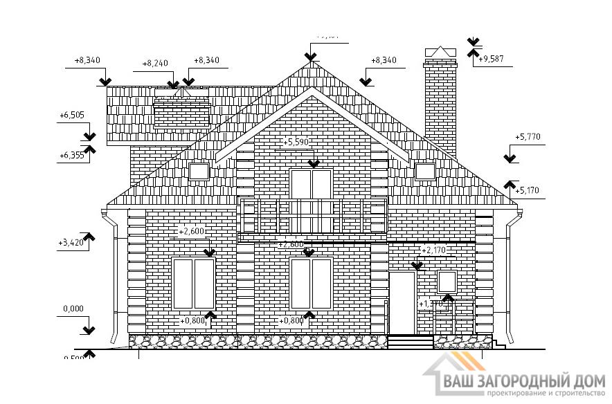 Проект одноэтажного дома с мансардным этажом, площадью 260м2, К-0003