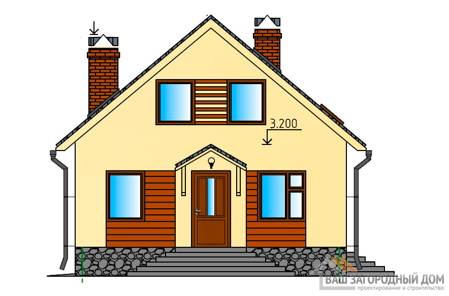 Проект дома в 1 этаж с мансардой, общей площадью 131 м2, К-0023