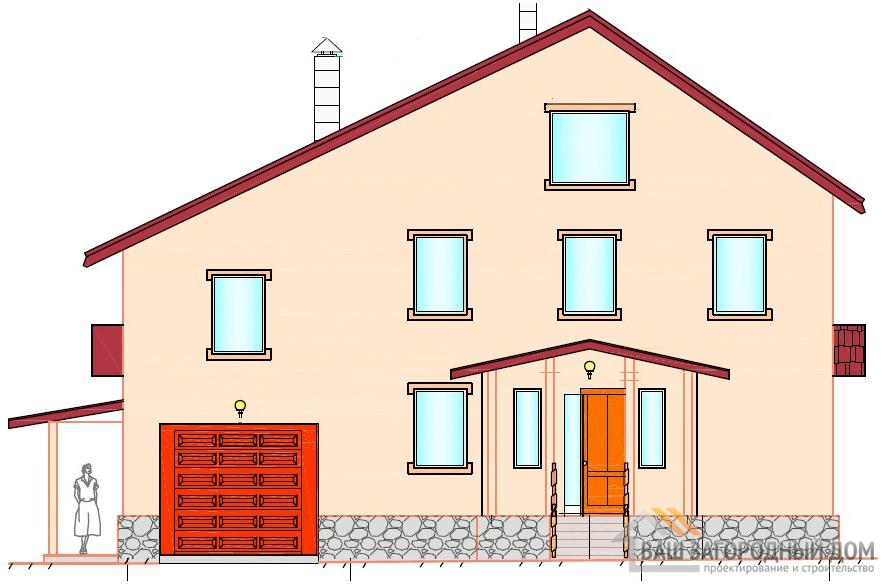 Проект 2-х этажного дома с мансардой, общей площадью 287 м2, К-0028