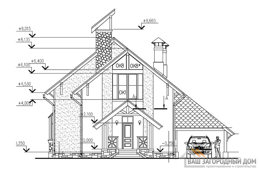 Проект дома с мансардным этажом, общей площадью 133,5 м2, К-0032
