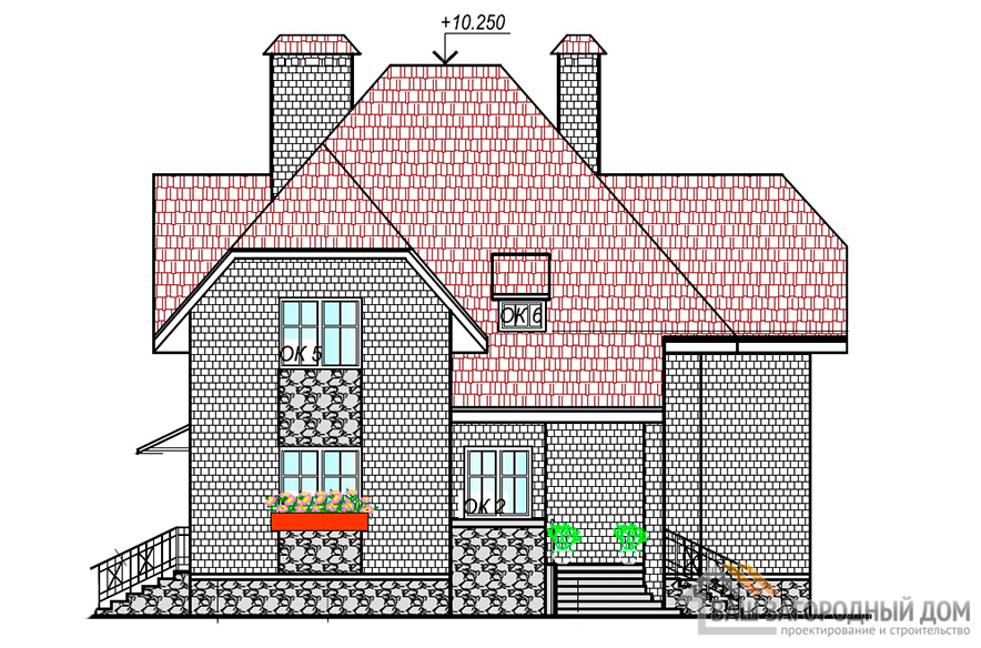 Проект дома в два этажа, площадью 177 м2, К-0062