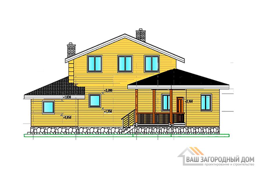 Классический проект 1 этажного дома с мансардой, 193 м2, К-0014