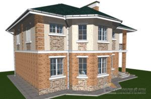 Проект дома в 2 этажа с террасой, общей площадью 194 м2, К-0310