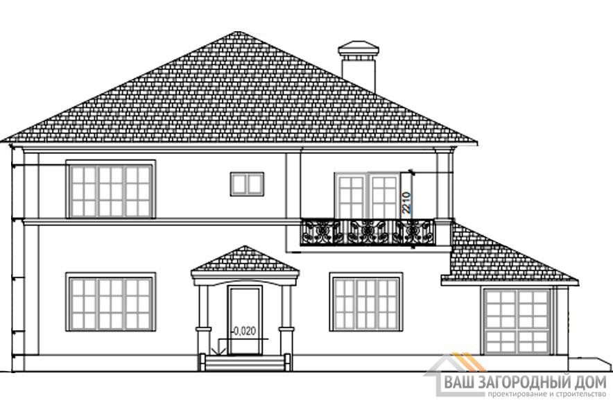 Проект дома в 2 этажа с террасой, общей площадью 288 м2, К-0311