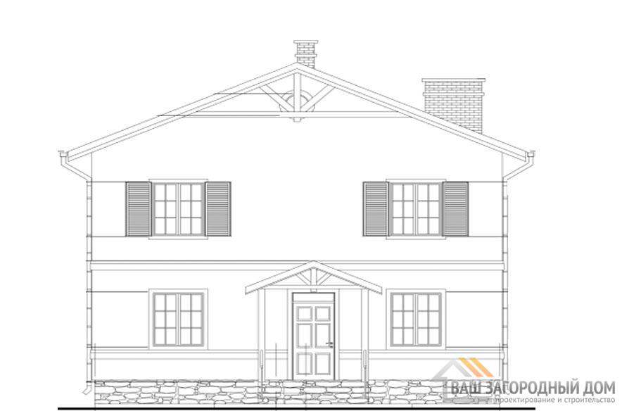Проект дома в 2 этажа с сауной, общей площадью 109 м2, К-0314