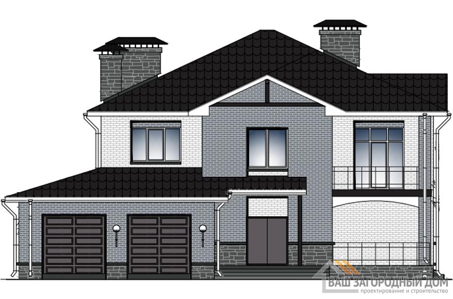 Проект дома в 2 этажа с террасой, общей площадью 642 м2, К-0315