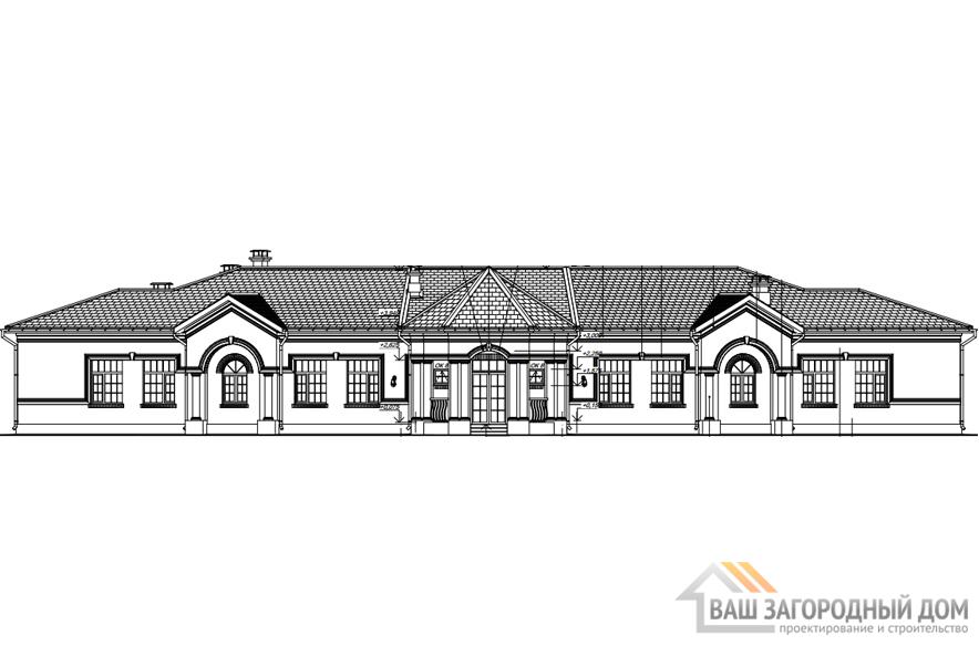 Проект дома в 1 этаж с террасой, общей площадью 299 м2, К-0318