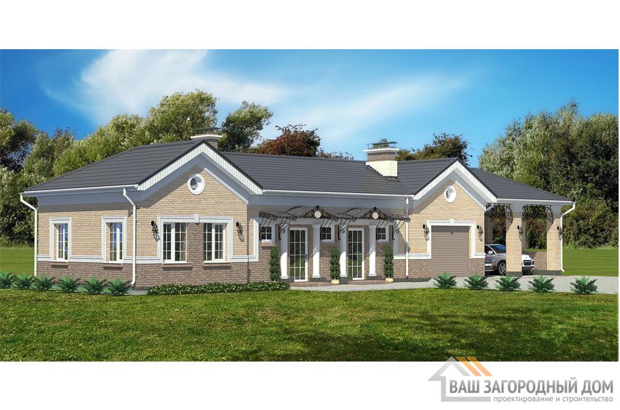 Проект дома в 1 этаж с гаражом, общей площадью 91 м2, К-0320