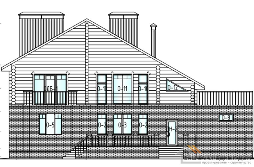 Проект дома в 2 этажа с гаражом, общей площадью 491 м2, К-0321