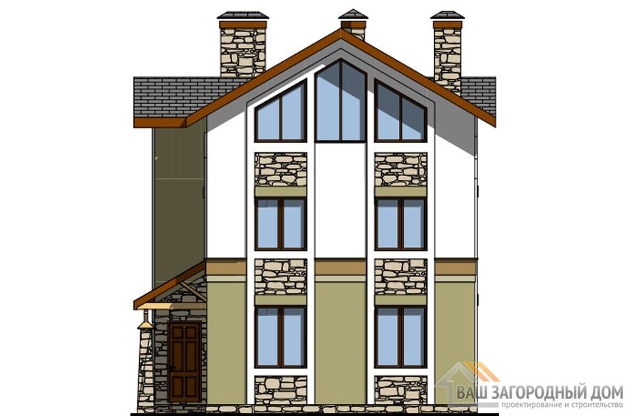 Проект дома в 2 этажа с террасой, общей площадью 210 м2, К-0323