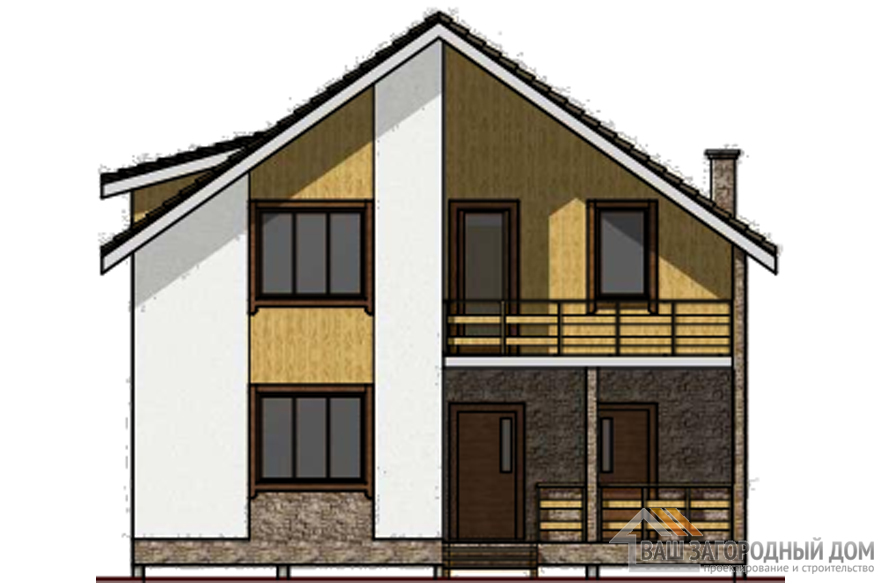 Проект дома в 2 этажа с террасой, общей площадью 201 м2, КР-0326
