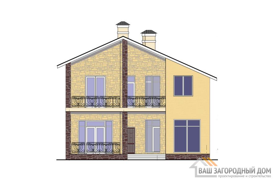 Проект дома в 2 этажа с террасой, общей площадью 197 м2, К-0327