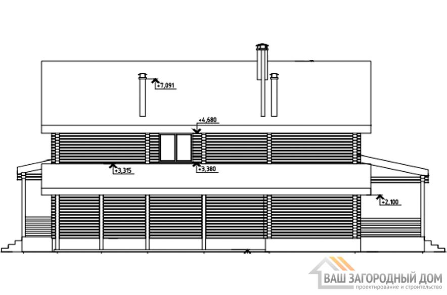 Проект дома в 2 этажа с террасой, общей площадью 289 м2, Д-0329