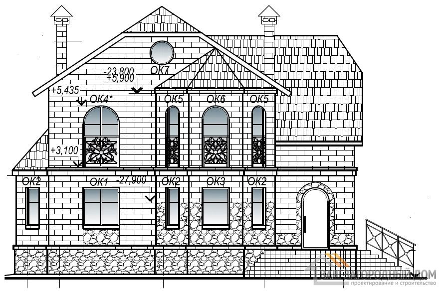 Проект дома в 2 этажа, площадь 181 м2, К-0015