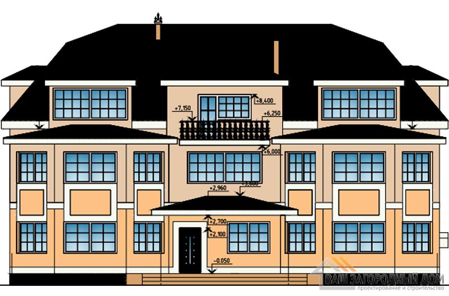 Проект дома в 3 этажа с мансардой, общей площадью 714 м2, К-0331