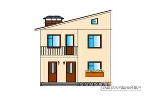 Проект 2-х этажного дома с односкатной крышей общей площадью 146 м2, К-0026