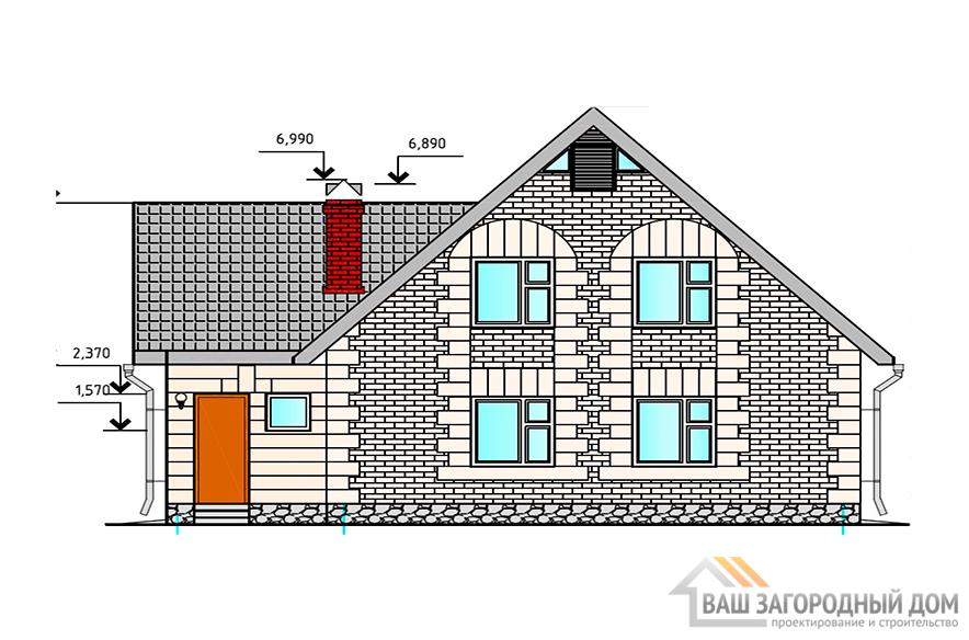 Проект дома в 1 этаж с мансардой, 160 м2, К-0008