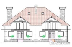 Проект 2-х этажного дома на две семьи, общей площадью 336 м2, К-0061