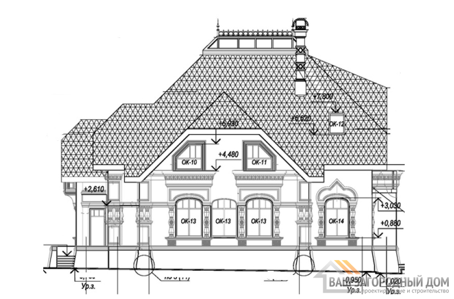 Готовый проект двухэтажного дома с жилым  чердаком, общей площадью 333м2, К-0010