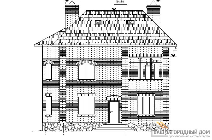 Проект двухэтажного дома, общей площадью 219,8 м2, К-0002
