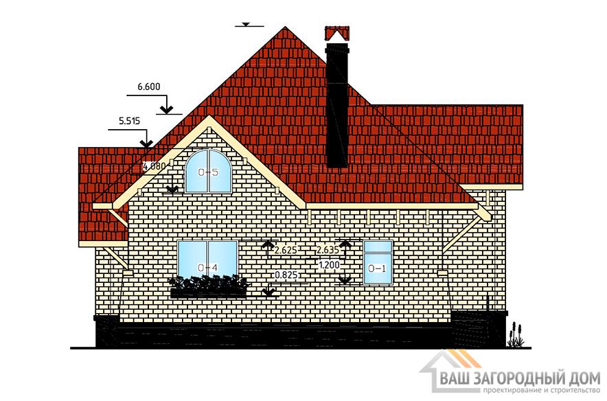 Проект дома в один этаж с мансардой, общей площадью 155м2, К-0001