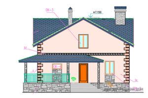 Проект дома с мансардным и цокольным этажом, общей площадью 144 м2, К-0054