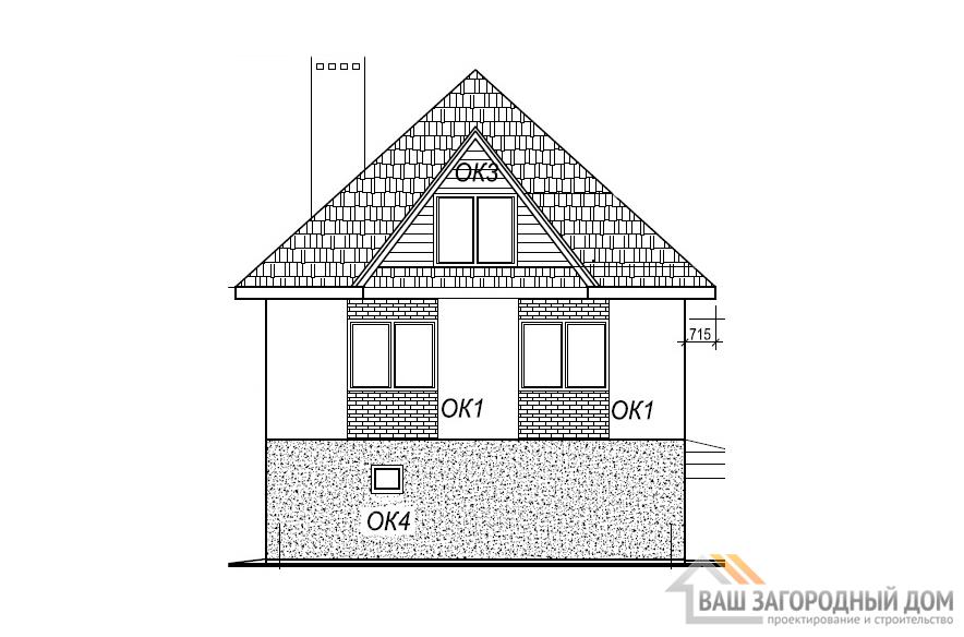 Проект двухэтажного одноквартирного дома, площадью 165 м2, К-0045