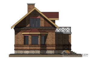 Проект 2 этажного каркасного дома с верандой площадью 111 м2, К-0152