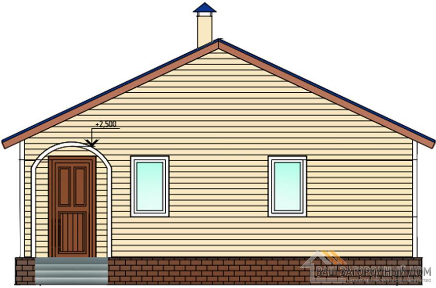 Проект одноэтажного газобетонного дома площадью 57 м2, К-0153