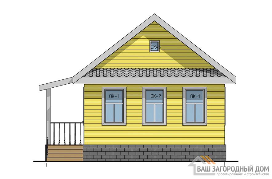 Проект маленького дома для дачного участка, общей площадью 47 м2, К-0097