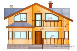 Проект 1 этажного дома с мансардой и сауной, площадью 170 м2, К-0090