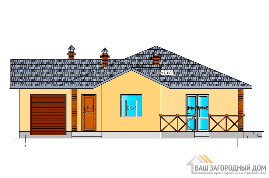 Готовый проект одноэтажного коттеджа, общей площадью 155 м2, К-0080